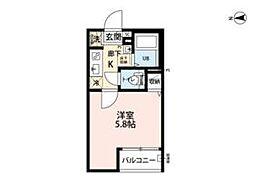 西武多摩川線 新小金井駅 徒歩11分の賃貸アパート 1階1Kの間取り