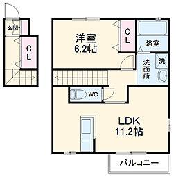 JR東北本線 雀宮駅 徒歩12分の賃貸アパート 2階1LDKの間取り