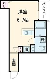 インベスト大崎6 3階ワンルームの間取り