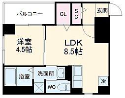 カーサ・フェリーチェ平尾 4階1LDKの間取り