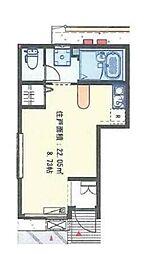 東急大井町線 旗の台駅 徒歩5分の賃貸アパート 1階ワンルームの間取り