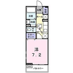 東武東上線 上福岡駅 徒歩12分の賃貸アパート 1階1Kの間取り