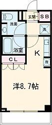 東急東横線 自由が丘駅 徒歩11分の賃貸マンション 3階ワンルームの間取り