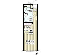 東急東横線 中目黒駅 徒歩2分の賃貸マンション 2階1Kの間取り