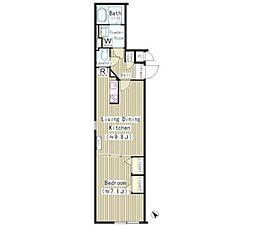 東急東横線 中目黒駅 徒歩2分の賃貸マンション 4階1LDKの間取り