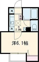東急目黒線 西小山駅 徒歩10分の賃貸アパート 1階1Kの間取り