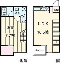 東急田園都市線 桜新町駅 徒歩8分の賃貸テラスハウス 地下1階1LDKの間取り