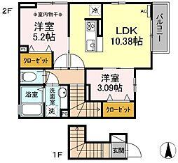 東武伊勢崎線 竹ノ塚駅 徒歩25分の賃貸アパート 2階2LDKの間取り