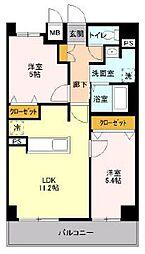 JR京浜東北・根岸線 川口駅 徒歩17分の賃貸マンション 5階2LDKの間取り