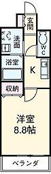 名鉄豊田線 梅坪駅 徒歩8分の賃貸マンション 3階1Kの間取り