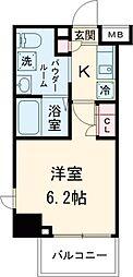 コージーコート島津山 4階1Kの間取り