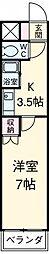 アイルーム豊田永覚I 3階1Kの間取り