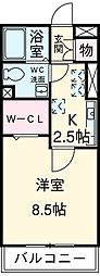 近鉄名古屋線 霞ヶ浦駅 徒歩18分の賃貸アパート 1階ワンルームの間取り
