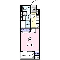 名鉄豊田線 浄水駅 徒歩13分の賃貸マンション 2階1Kの間取り