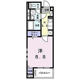 京成本線 八千代台駅 徒歩3分の賃貸マンション 1階1Kの間取り