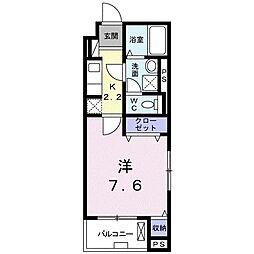 京成本線 八千代台駅 徒歩3分の賃貸マンション 2階1Kの間取り