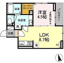 D-room西平山A棟 3階1LDKの間取り