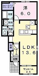 わたらせ渓谷鐵道 下新田駅 徒歩10分の賃貸アパート 1階1LDKの間取り