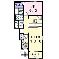 JR両毛線 駒形駅 3.9kmの賃貸アパート 1階1LDKの間取り