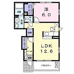 JR両毛線 岩宿駅 徒歩26分の賃貸アパート 1階1LDKの間取り