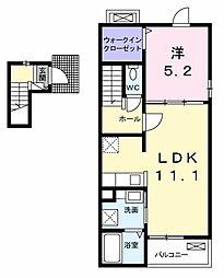 上毛電気鉄道 西桐生駅 徒歩18分の賃貸アパート 2階1LDKの間取り