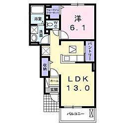 JR上越線 八木原駅 徒歩38分の賃貸アパート 1階1LDKの間取り