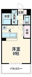JR上越線 新前橋駅 徒歩22分の賃貸アパート 1階1Kの間取り