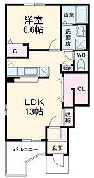 JR上越線 群馬総社駅 徒歩36分の賃貸アパート 1階1LDKの間取り
