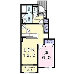 東武桐生線 新桐生駅 徒歩13分の賃貸アパート 1階1LDKの間取り