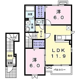 JR両毛線 岩宿駅 徒歩10分の賃貸アパート 2階2LDKの間取り