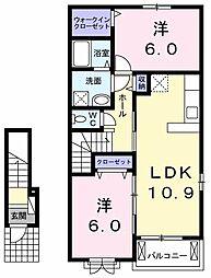 JR両毛線 小俣駅 徒歩30分の賃貸アパート 2階2LDKの間取り