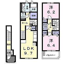 JR成田線 成田駅 バス26分 宮下下車 徒歩2分の賃貸アパート 2階2LDKの間取り