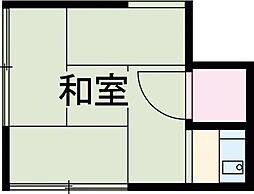 JR中央線 吉祥寺駅 徒歩18分の賃貸アパート 1階ワンルームの間取り