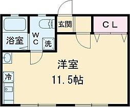 京王線 高幡不動駅 徒歩10分の賃貸アパート 1階ワンルームの間取り