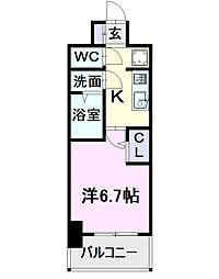 名古屋市営東山線 亀島駅 徒歩2分の賃貸マンション 10階1Kの間取り
