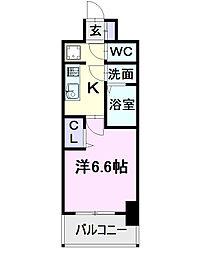 名古屋市営東山線 亀島駅 徒歩2分の賃貸マンション 12階1Kの間取り