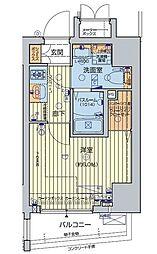 JR山手線 五反田駅 徒歩7分の賃貸マンション 13階1Kの間取り