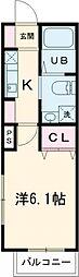 京王線 東府中駅 徒歩3分の賃貸アパート 3階1Kの間取り