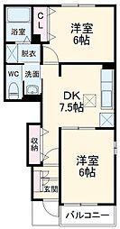 京成本線 京成臼井駅 バス6分 大林下車 徒歩1分の賃貸アパート 1階2DKの間取り