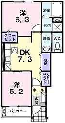 JR成田線 久住駅 徒歩10分の賃貸アパート 1階2DKの間取り
