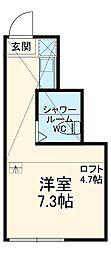 ユナイト南太田ジュネーブの杜 2階ワンルームの間取り