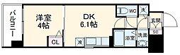 京都地下鉄東西線 太秦天神川駅 徒歩8分の賃貸マンション 3階1DKの間取り