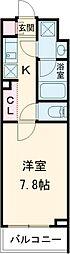 JR山手線 高田馬場駅 徒歩15分の賃貸マンション 1階1Kの間取り
