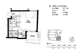 福岡市地下鉄空港線 唐人町駅 徒歩8分の賃貸マンション 1階ワンルームの間取り