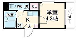 メルディア生田 1階1Kの間取り