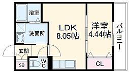 阪急京都本線 桂駅 徒歩11分の賃貸マンション 1階1LDKの間取り