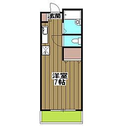 加賀山コーポ6 2階ワンルームの間取り