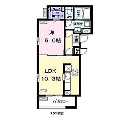 名古屋市営名港線 日比野駅 徒歩17分の賃貸アパート 1階1LDKの間取り