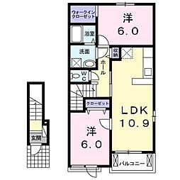 JR常磐線 大津港駅 徒歩20分の賃貸アパート 2階2LDKの間取り