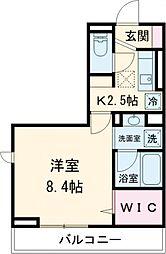 JR東北本線 岡本駅 7.2kmの賃貸アパート 1階1Kの間取り